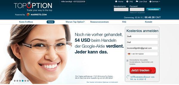 Webseite des Brokers TopOption