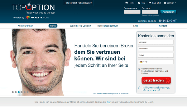 Die Webseite des Brokers TopOption