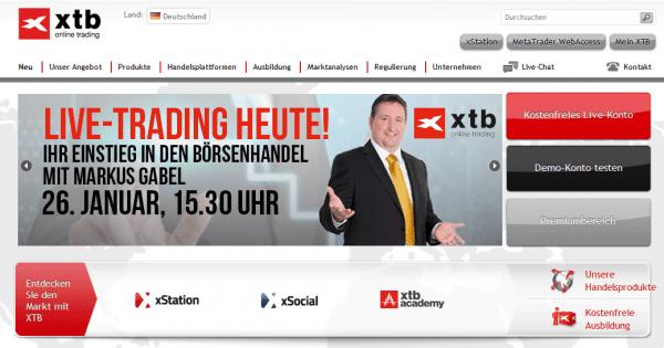Die Webseite des Brokers XTB