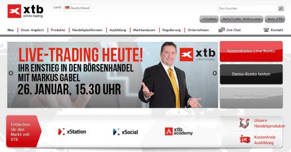 Die Webseite von XTB