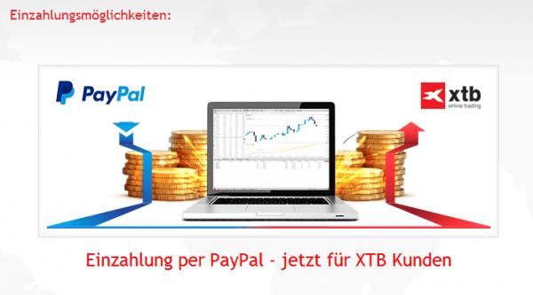 Bei XTB sind PayPal Zahlungen möglich